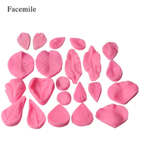 Facemile 22PCS Silicone Petal Leaf Mold Flowers Fondant Mold Chocolate Gum Paste Mold Fondant Cake Broder Decorating Tools