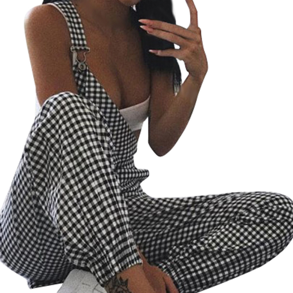 Long Playsuit Salopette Dungarees Loose Plaid Sleeveless Trousers Casual Femme Polyester