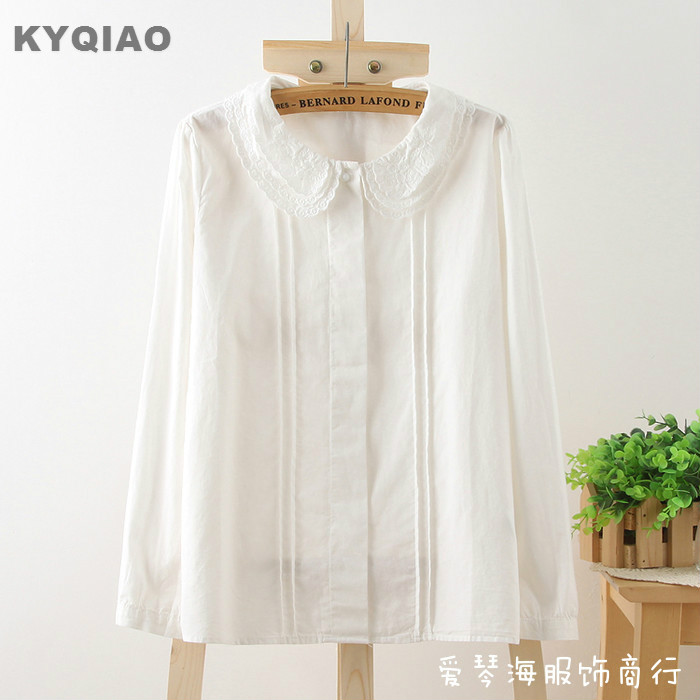 Women's Clothing Kyqiao Ethnic Shirt 2019 Mori Girls Japanese Style Fresh Long Sleeve Turn-down Collar Blue White Embroidery Blouse Shirt Blusa