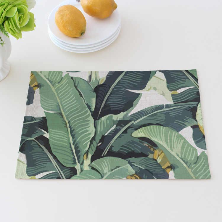Столовый коврик настольные подставки джунгли время еды домашний сад зеленый с растительным принтом в виде листьев хлопок ткань салфетка стол Desgin коврик