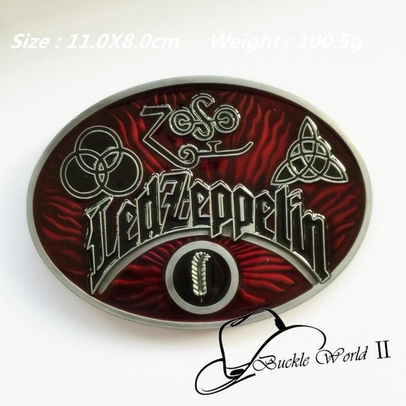 Fashion Oval Led Zeppelin Band muisc belt buckle for men women Jeans accessories fit 4cm Wide Belt 11*8cm 100.5g Red Black Metal