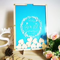 Personalized Multi Colors Rustic Drop Top Wooden Wedding Guest Book Frame Customized Hearts 100 Pcs Hand