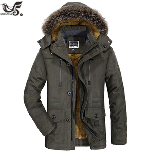 Image 2 - Chaqueta de invierno para hombre abrigo militar negro con relleno de algodón grueso cálido, abrigo parca vestuario, rompevientos, Abrigo con capucha de piel