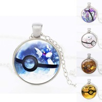 Pokemon Go Jewelry with Silver Plated Pokemon Ball Monster Pattern Glass Cabochon Choker Pendant Necklace for Women Gift