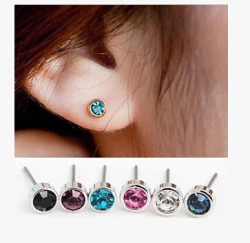 ea548   2019 New listing Fashion Silver Simple Shiny little Crystal Stud Earrings Christmas gift 1 pair