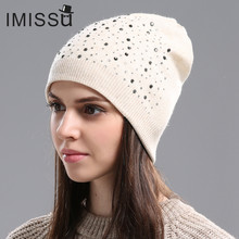 bc745b2ffccd6 IMISSU Autumn Winter Beanie Hat Women s Knitted Wool Skullies with Crystal  Casual Cap Solid Color Winter