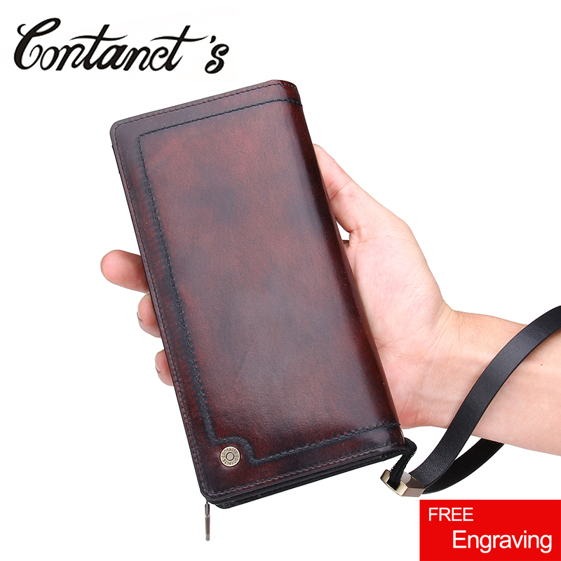 Contact's Genuine Leather Men Wallet Zipper Wallets Large Capacity Man Clutch Bag Phone Card Holder Male Purse High Quality man leather bag high quality skull wallet personality clutch bags rivets pu leather purse zipper card holder punk wallets h006