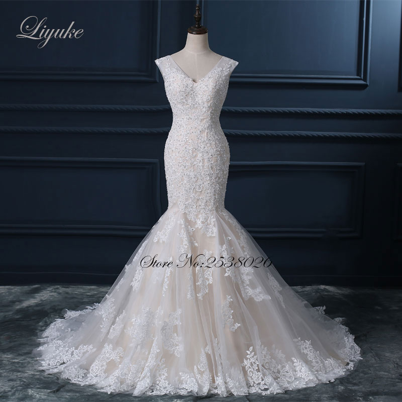 Liyuke Κομψό Σατέν Τούλι Γλυκιά Φόρεμα - Γαμήλια φορέματα - Φωτογραφία 1
