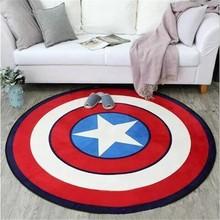 Круглый ковер с принтом «Капитан Америка», мягкие ковры для гостиной, Противоскользящий коврик, коврик для дома, детская комната