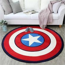 Captain America Shield Printed Round Carpet Soft Carpets for Living Room Anti-slip Rug Chair Floor Mat for Home Decor Kids Room(China)