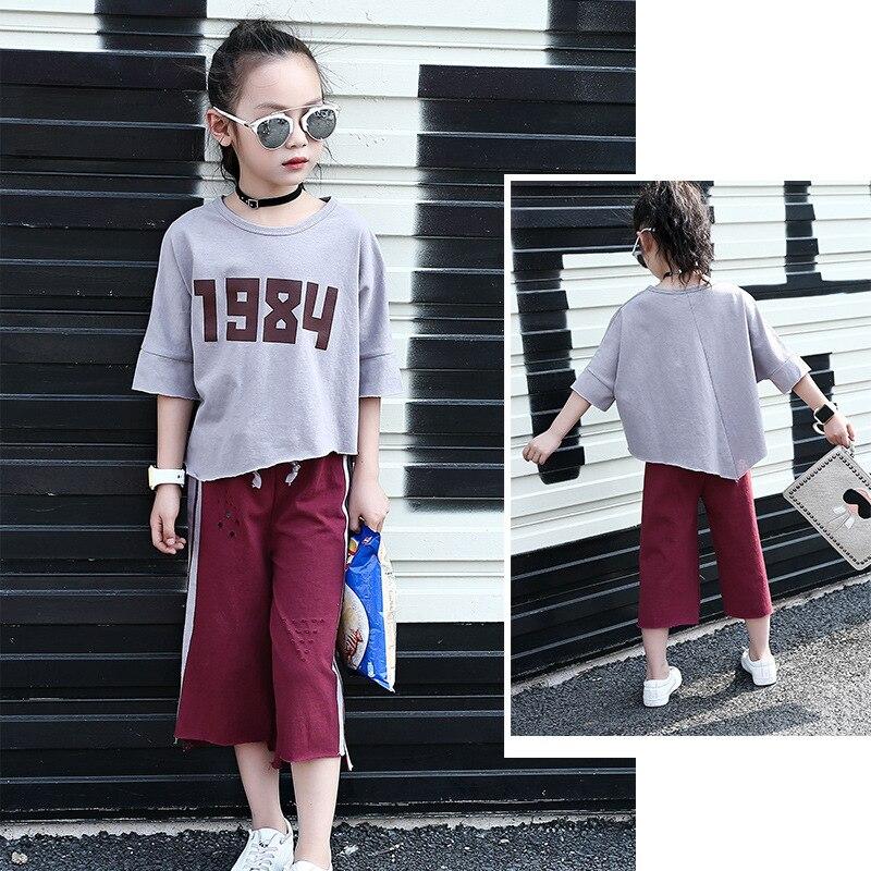 Teenage girl set in 2017 summer casual irregular shirt digital striped round neck suit vest + shorts 2 sets 3-14 years old 6 2017 new summer 369 digital