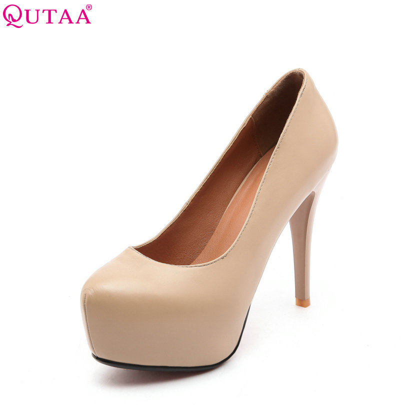 QUTAA 2018 Women Pumps Super Thin High Heel Woman Shoes Pointed Toe Elegant Genuine Leather OL Ladies Wedding Shoes Size 34-40 plus big size 34 47 shoes woman 2017 new arrival wedding ladies high heel fashion sweet dress pointed toe women pumps a 3