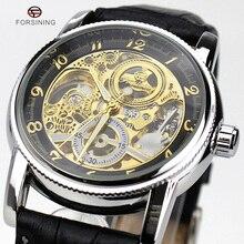 2016 Nuevas Llegadas Mens Relojes de Primeras Marcas de Lujo Relojes Mecánicos Automáticos Forsining Diseño Grabado Hueco Montre Homme