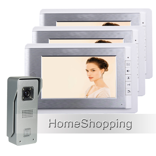 FREE SHIPPING Brand Wired 7 inch Color Video Intercom Door Phone System 3 White Monitor + 1 Waterproof Doorbell Camera In Stock free shipping brand new wired 7 color video door phone intercom system with 1 waterproof doorbell camera 2 monitor in stock