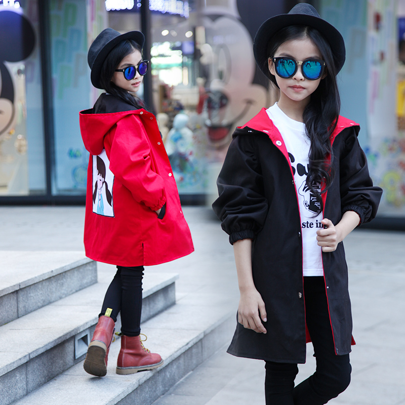 Spring 2017 new children s clothing girls hooded jacket loose little girl can wear double sided