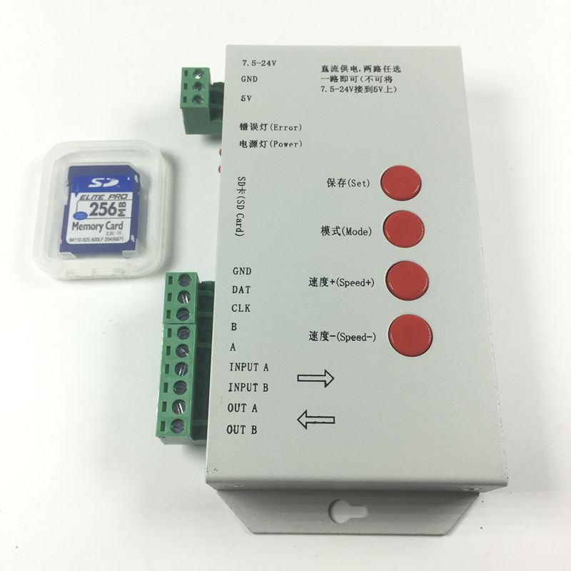 Original T1000S led pixel module Controller 2048 Pixels with SD card for WS2801 WS2811 LPD6803 RGB full color RGB play video SPI 100pcs ws2801 pixel node round model 1pcs 12v 60w power supply sd card pixe module controller pre set easy to use