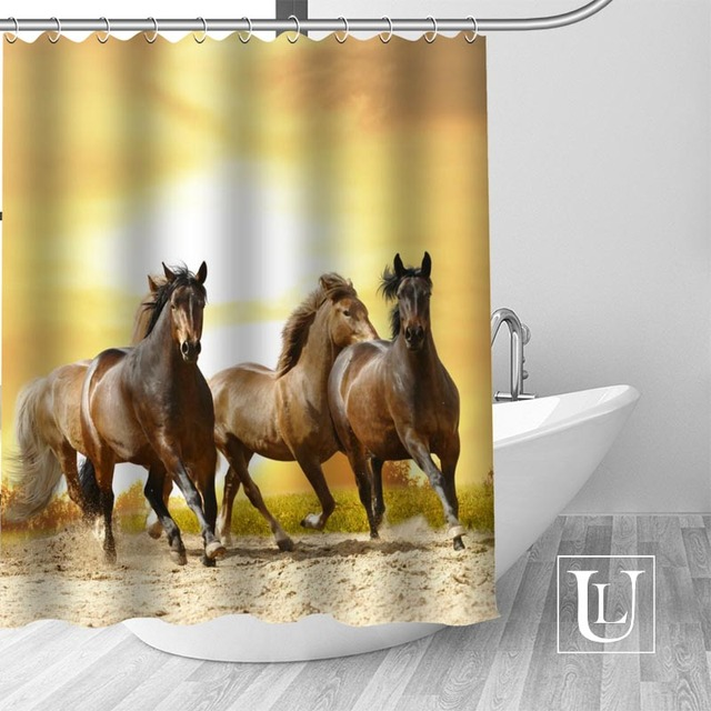High Quality Custom Horse Shower Curtain Polyester Fabric Bathroom Hooks Mildew Resistant Decor