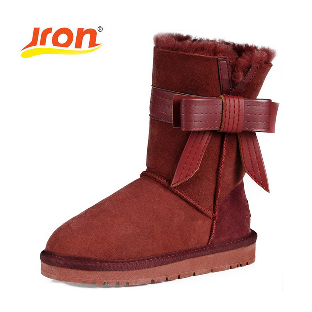 Jron Bow Style Sheepskin Winter Snow Boots Female Genuine Leather Woolen Shearling Winter Footwear Mid Calf Boots Ladies Woman jron mid calf genuine sheepskin leather woman shearling snow boots rubber sole anti slip function warm boots for winter autumn
