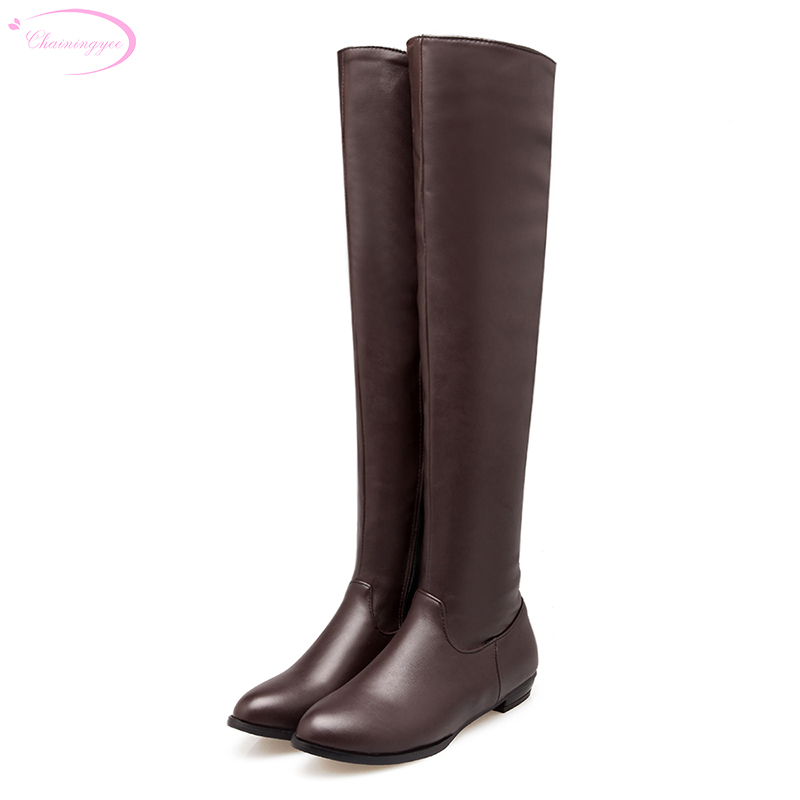 Chainingyee casual style sexy pointed toe over knee high boots fashion zipper flat womens riding boots big size 21.5~27.5cm
