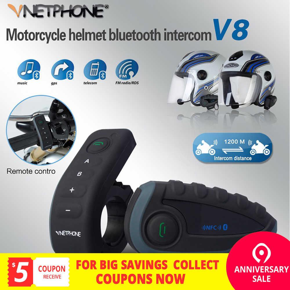 674aa565383 VNETPHONE Helmet Headset Motorcycle Intercom Moto 1200m Helmet Bluetooth  Interphone FM 5 People at the Same