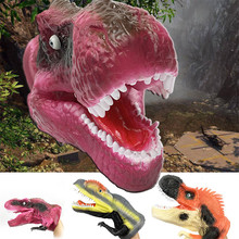 1pc Simulation Dinosaurs of Jurassic  Model  Hand Puppet Toys Jurassic Period T-Rex Dinosaur Puppet Doll Gloves Rubber Funny Toy