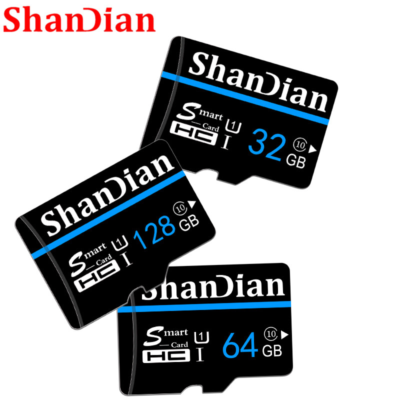SHANDIAN  Memory Card 128GB 64GB 32GB 16GB 8GB 4GB Micro Sd Card For Mobile Phone Tablet PSP With Free Adapter+retail Package