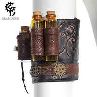 Steampunk Skinny Chest Dress And Accessories Arm Set Brown Imitation Leather Wheel Flower Gilded Gothic Retro Hand Sleeve Women