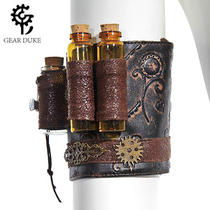 Steampunk Skinny Chest Dress And Accessories Arm Set Brown Imitation Leather Wheel Flower Gilded Gothic Retro Hand Sleeve Women(China)