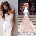 Vestidos Longos Formatura Sexy querida Applique Lace branco sereia Vestidos de baile 2016 Abendkleider longo Prom Vestidos de festa ZY060