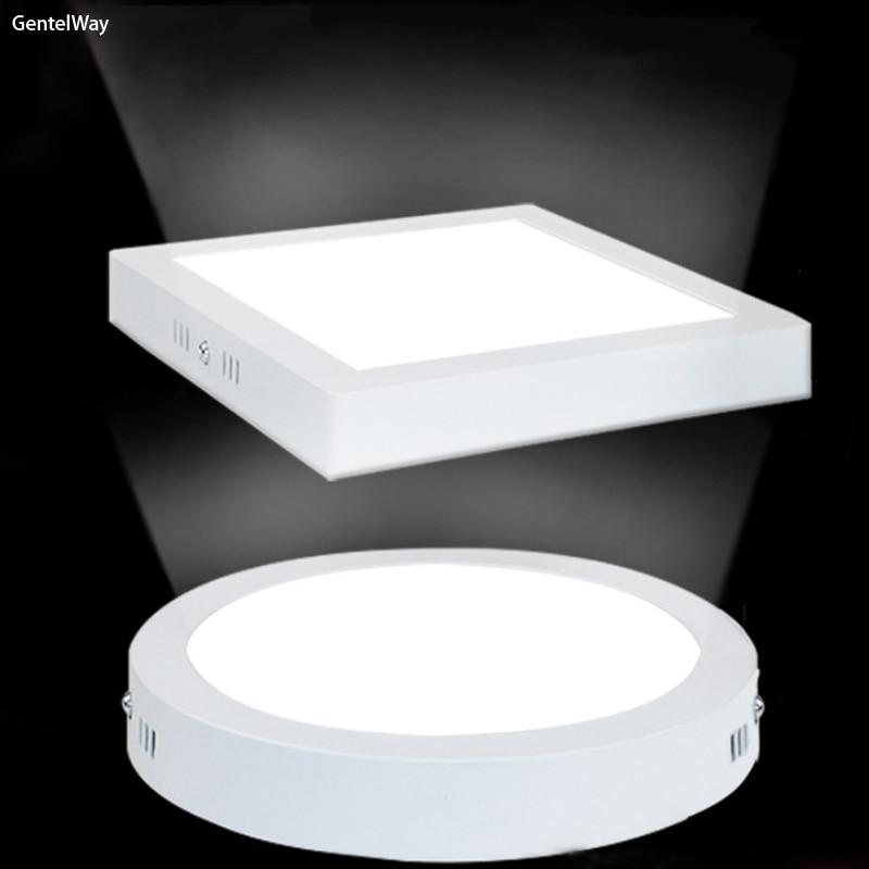 GentelWay LED plafonnier carré rond 6 W 12 W 18 W panneau de plafond haute luminosité éclairage monté en surface lampe plate illuminum