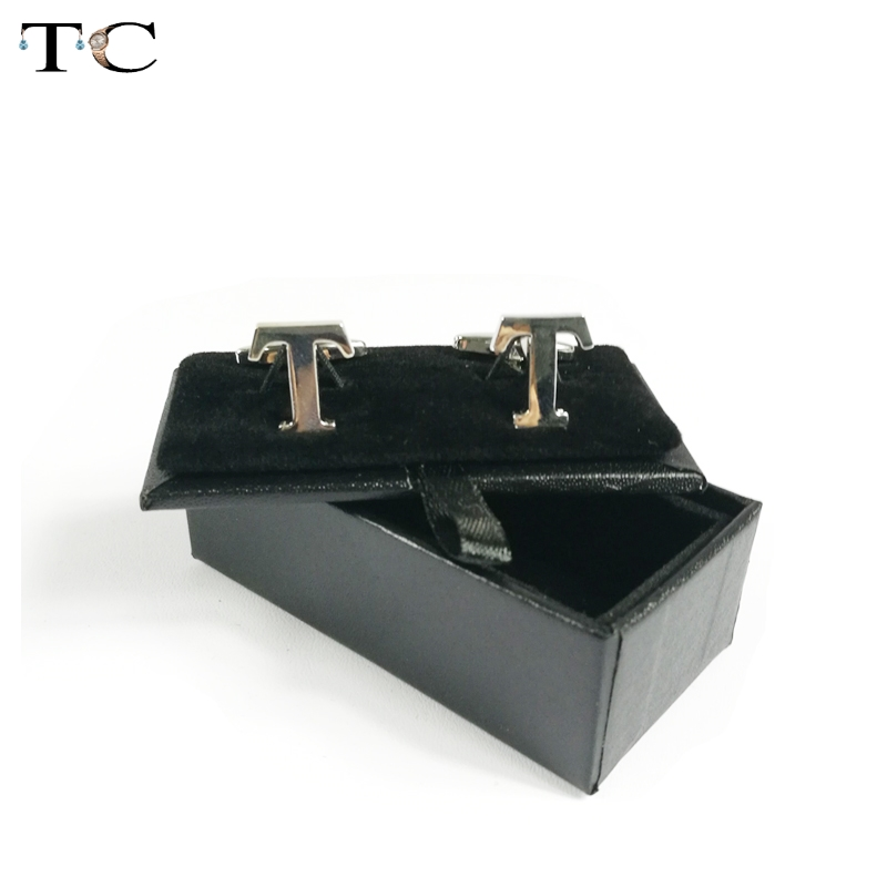 Free Shipping Promotion Limited Gift Box 50pcs lot Black Mens Cufflinks Box Gift Storage Case Cuff