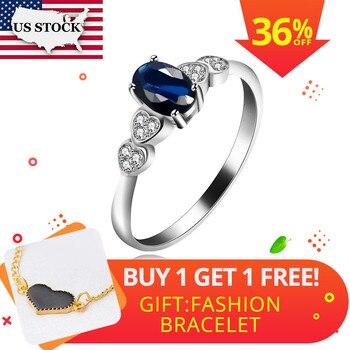 a5f57d2d0d8a Anillos Almei para mujer plata piedra azul CZ zirconia anillo joyería  Vintage cristal Anillos Retro ...