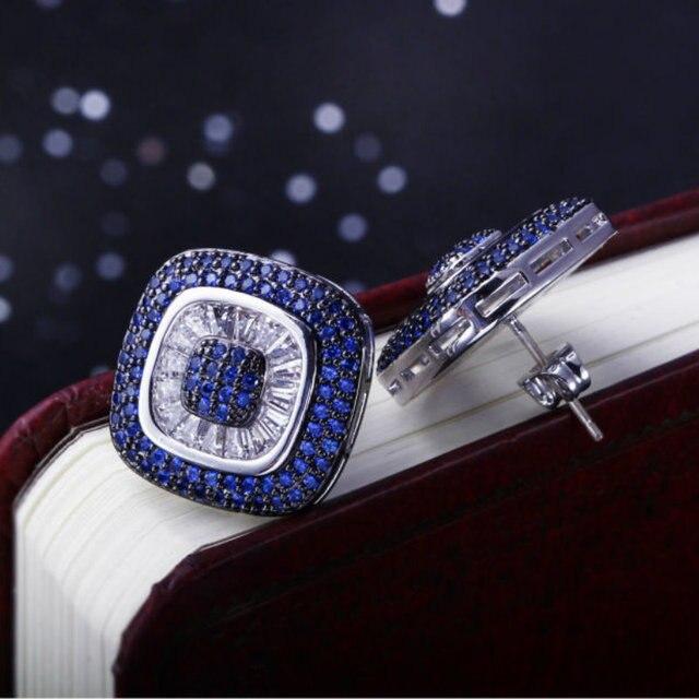 Square Design Blue Purple Zircon Setting Women Color Stud Earrings 204 Piece CZ Micro Pave Bridal Wedding Party Fashion Jewelry