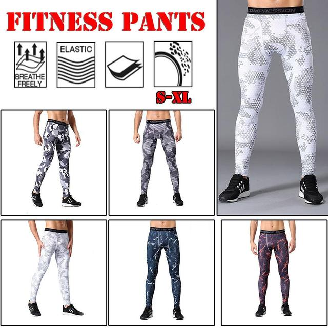 1a0a839a59 Men's Sports Compression Tights Quick-drying Pants Outdoor Running Training  Basketball Pants Tight Wear Fitness Pants Leggings