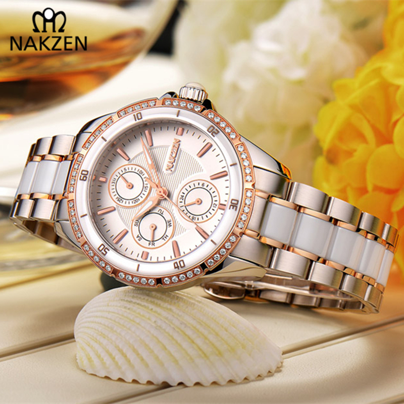 NAKZEN Luxury Brand Diamond Waterproof Woman Clock Grace Stainless Woman Watch Bracelet Simple Attract Female Relojes Mujer Gift