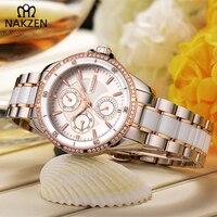 NAKZEN Luxury Brand Diamond Waterproof Woman Clock Grace Stainless Woman Watch Bracelet Simple Attract Female Relojes Mujer Gift