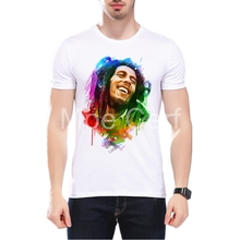 MOE CERF New Fashion Bob Marley Men Tops Painted Style Printed T-Shirts Summer High Quality Short Sleeve Tops L9-J-114