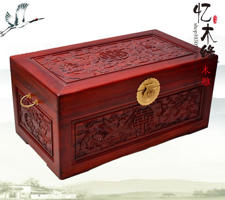 Antique wooden box containing camphor BOX WEDDING dowry calligraphy carved wood gift box of suitcase dragon Double Happiness camphor wood furniture carved wooden suitcase special offer and marriage dowry box storage box box manufacturers selling