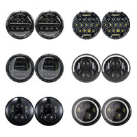 1 Pair 7 Inch Front Projector Headlamp For Jeep Wrangler JK CJ TJ LJ 7 LED Round Headlight For Lada Niva 4x4 Suzuki Bandit 600