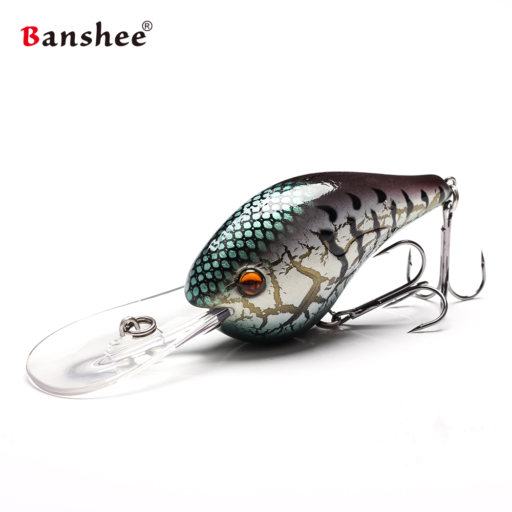 Banshee 75mm 24g Fishing Lure Floating Wobbler Fishing Deep Crankbait Cranks Rattle Artificial Bait Hard Wobbler For Trolling in Fishing Lures from Sports Entertainment