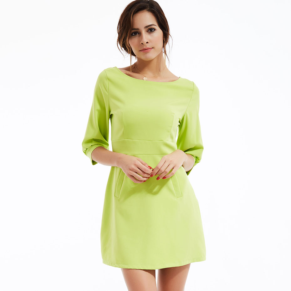 Women formal sexy slim a-line dress solid light green half lantern sleeve dress high street slash neck short mini summer dress