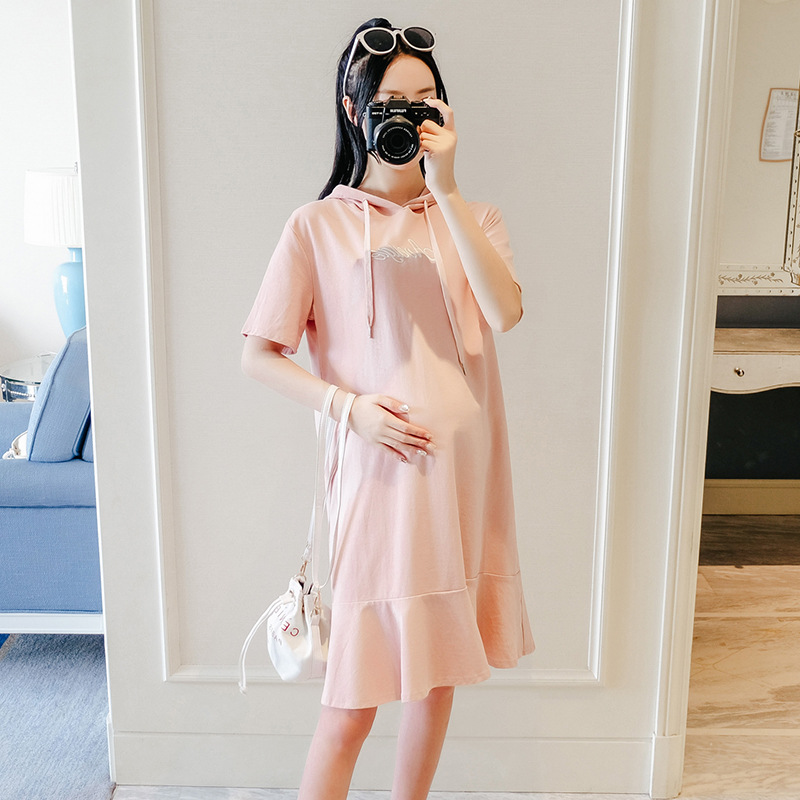 2019 Sport Style Pregnancy Clothes Summer Maternity Loose Dress Hooded Fashion Short Sleeve Dress For Pregnant Women Out
