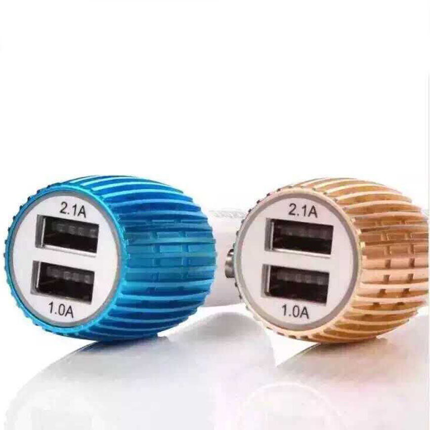 Car Charger Blue Light Alloy Cell Mobile Phone Charger 5V 1A 2.1A Dual USB Quick Charge Adapter For iPhone ios Android Phone (5)