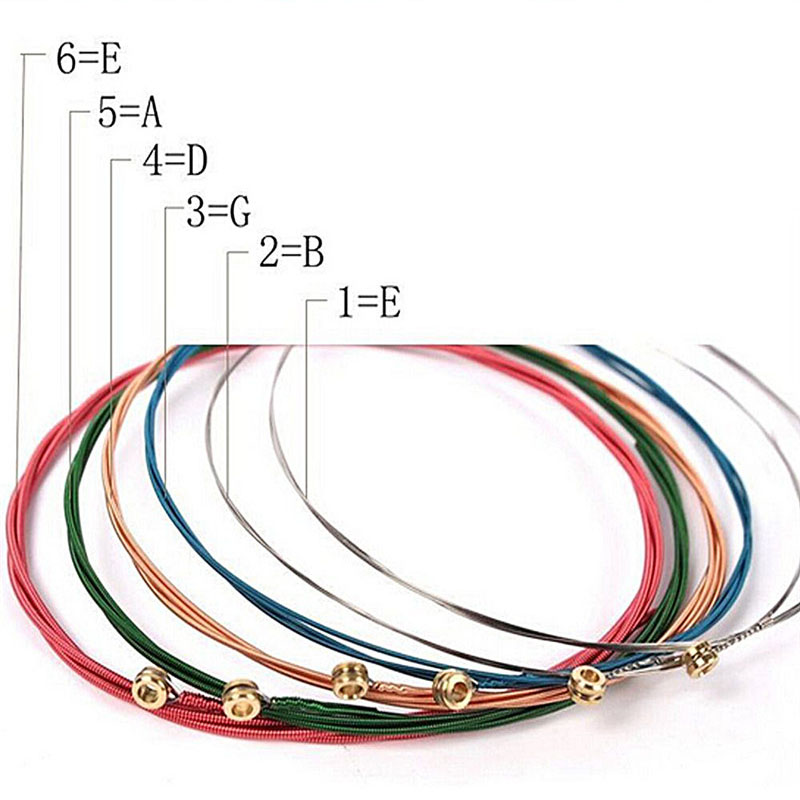 6 buc / set corzi chitara acustica curcubeu colorate corzi chitara - Instrumente muzicale - Fotografie 3