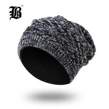 ФОТО [flb] 2018 winter beanie hat skullies beanies soft skull warm baggy cap gorros winter hats for men women knitted hat fk7709