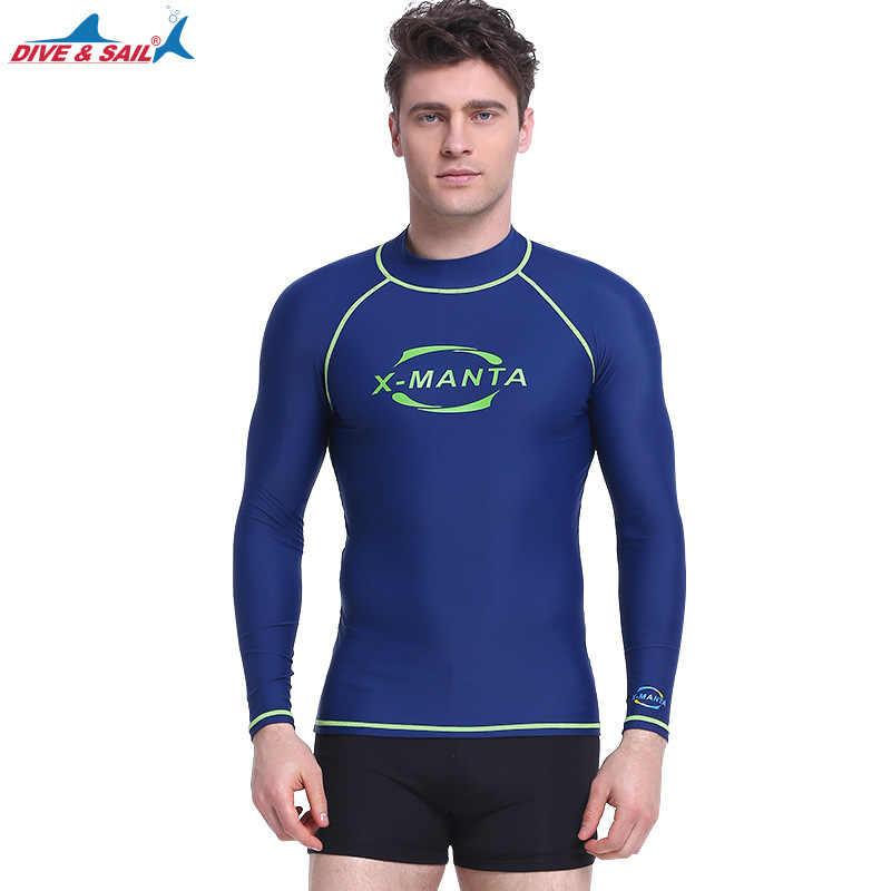 DIVE & Berlayar Pria Surfing Ruam Penjaga Top Renang Baju Renang Lycra UPF50 Lengan Panjang Kulit Tigh Selancar Angin Rashguards Menyelam cocok