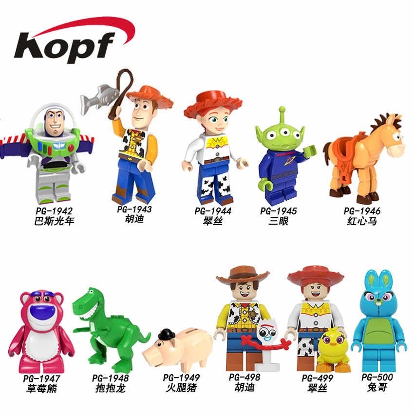 Single Sale Toys Story 4 Building Blocks Action Gift Cartoon Woody Jessie Buzz Lightyear Roundup Figures For Kids Toys PG8270
