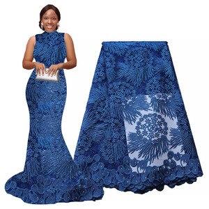 Image 2 - Afrika dantel kumaş 5 metre yüksek kaliteli gipür dantel tül fransız işlemeli örgü dantel kumaş altın beyaz mavi düğün parti