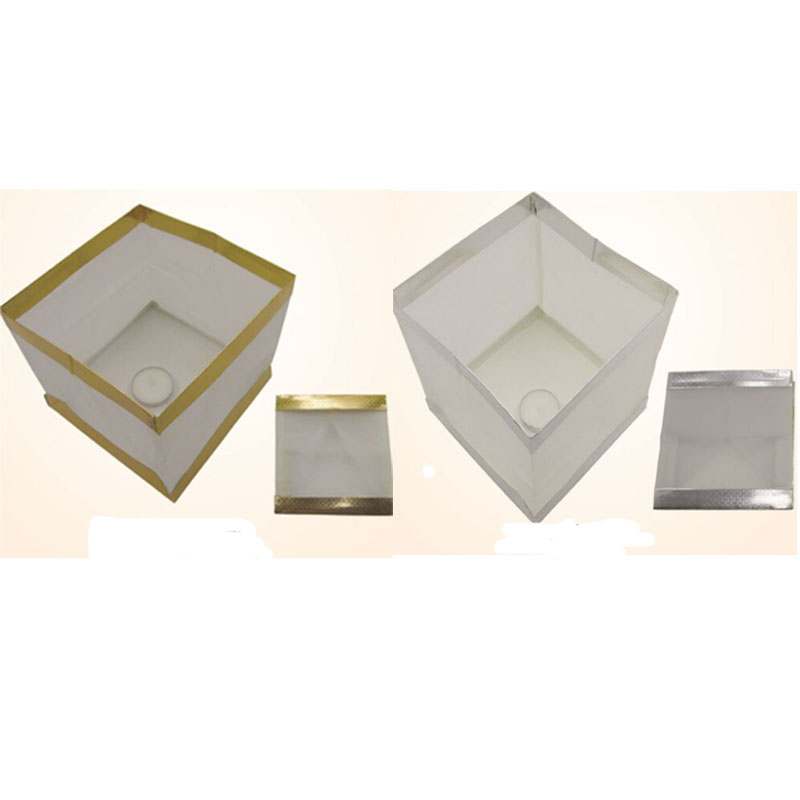 50pcs 15cm silver or golden bottom edge square floating pool box paper Water Lantern ceremony party