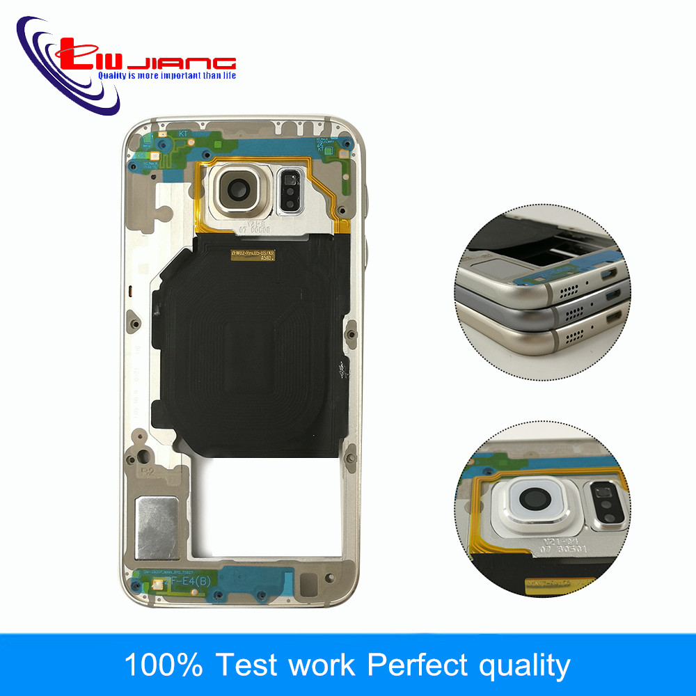 Liujiang Original Middle Frame For Samsung S6 G920 S6 G920F G920A G920T Bezel Housing Chassis with Back Camera Glass Lens CoverLiujiang Original Middle Frame For Samsung S6 G920 S6 G920F G920A G920T Bezel Housing Chassis with Back Camera Glass Lens Cover